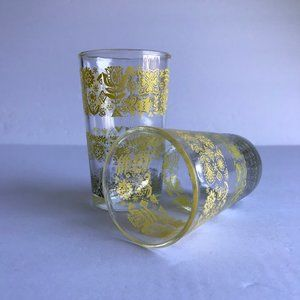 vtg floral glasses, yellow and green floral set